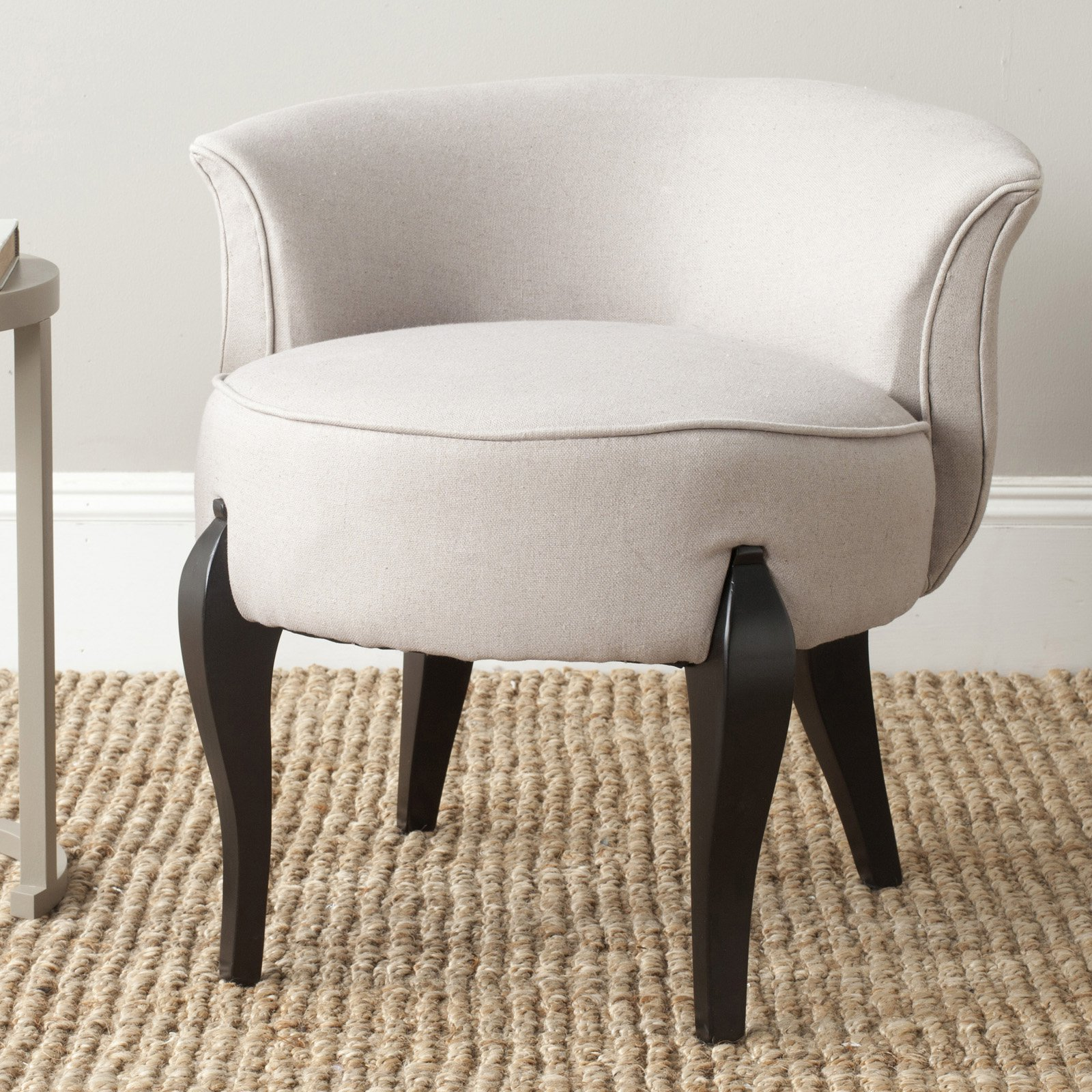 Safavieh Mora French Leg Linen Vanity Chair