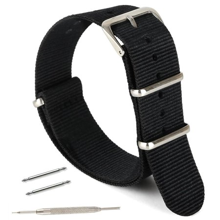 Watch Band, Nylon strap - For All Watch Faces, Bezels, Black, 20 mm Black Nylon Strap Jewelry