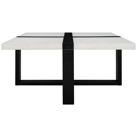 Coffee Table Metal Legs Sofa Desk Square Desktop X-shaped Base Tea End Table for Living Room, Type 1