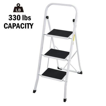 Karmas Product Foldable 3 Step Ladder Anti Slip Wide Heavy Duty Household Metal