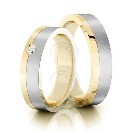 14k yellow white gold satin flat ladies and mens wedding band 5mm