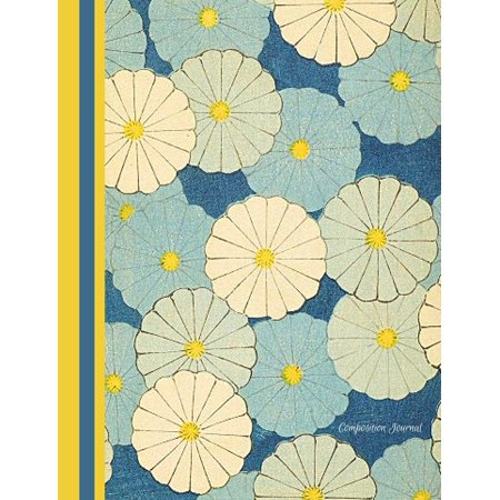 Composition Journal - Blue Japanese Flowers: Student Notebook - 100 College Ruled Pages (Paperback)