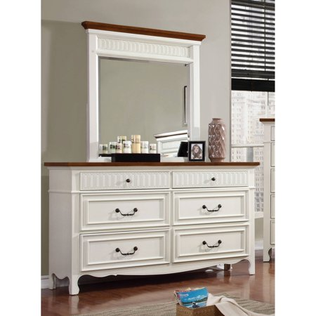 Furniture of America Dolly Cottage Dresser & Mirror Set, White & Oak