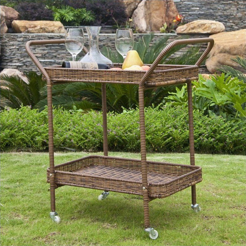 Jeco Wicker Patio Serving Cart in Honey by Jeco Inc.