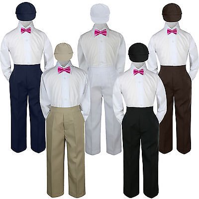 4pc Fuchsia Hot Pink Bow Tie Party Suit Pants Set Baby Boy Toddler Kid S-7