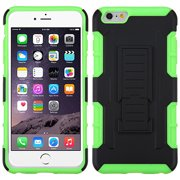 For iPhone 6S Plus/6+ Black/Electric Green Car Armor Stand Case (Rubberized)