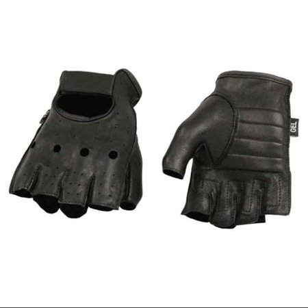 Milwaukee Leather Men's Deerskin Fingerless Motorcycle Gloves w/ Gel Palm ()