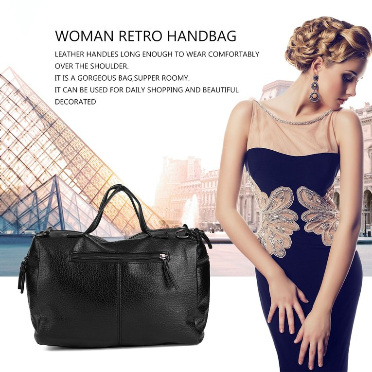 Woman New Retro Handbag Leather Single Shoulder Bag Washable Fabric Black