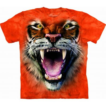 Roaring Twenties Mens Clothing (ROARING TIGER FACE Large Cotton Tigers T-Shirt Orange Adult Men's Women's Short Sleeve)