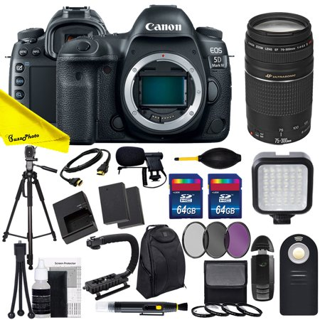 Canon EOS 5D Mark IV DSLR Camera with Canon EF 75-300mm f/4-5.6 III USM Lens + Buzz-Photo Advanced Video