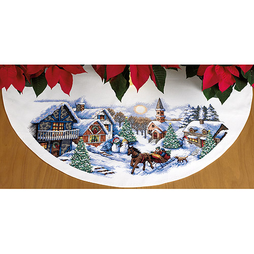 "Dimensions ""Sleigh Ride"" Tree Skirt Counted Cross Stitch Kit, 45"" Round"
