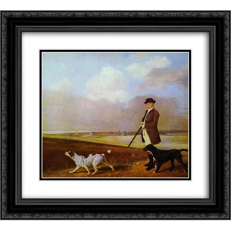 George Stubbs 2X Matted 22X20 Black Ornate Framed Art Print Sir John Nelthorpe  6Th Baronet Out Shooting With His Dogs In Barton Field  Lincolnshire