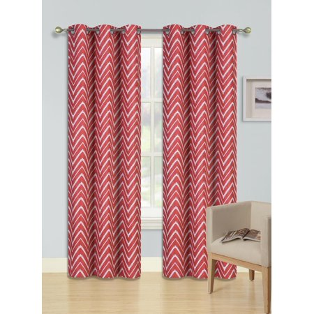F2 RED 2-PC Printed BLACKOUT Room Darkening Window Curtain Treatment, Set of Two (2) Geometric Zig Zag Pattern Insulated Thermal Panels 37