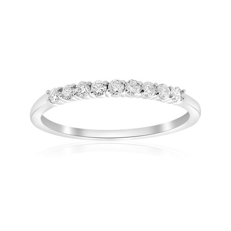 1/4 Ct Diamond Wedding Ring 14K White Gold Womens Stackable Prong Band Jewelry