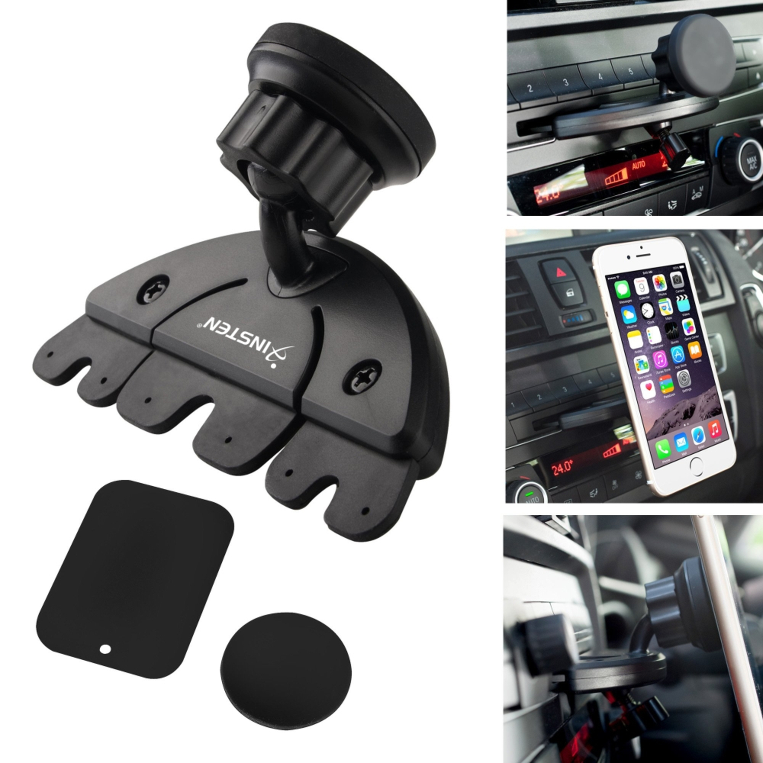 Insten car cd slot magnetic phone holder mount for apple iphone 7 6 6s plus 5s se android smartphone lg htc samsung galaxy s7 s6 edge s5 note 5 4 core