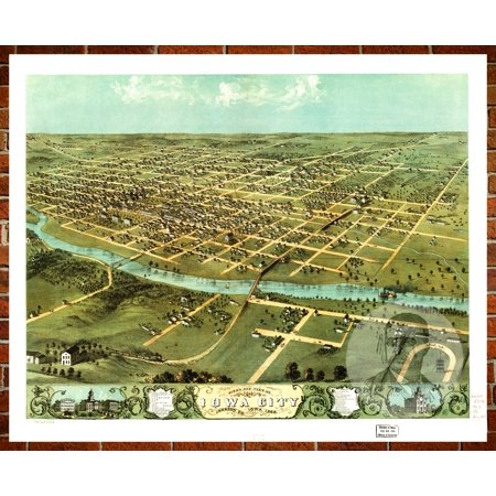 Teds Vintage Art Map Of Iowa City IA Old Iowa Decor X - Vintage iowa map