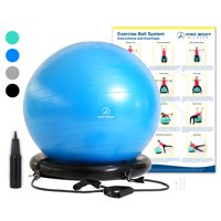 Exercise Ball Chair System - Yoga Ball with Stability Base and Workout Bands for Gym, Home, or Office