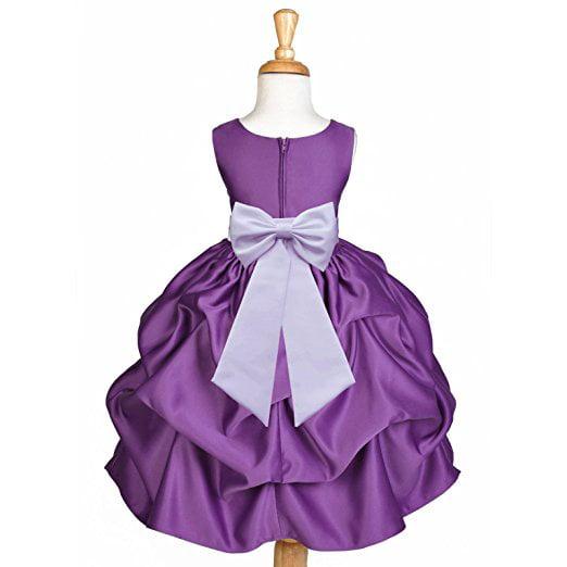 Flower Girls Satin Prom Dress Wedding Party Dance Ball Gown Kid Princess Dresses