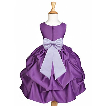 Ekidsbridal Purple Satin Pick-Up Flower Girl Dress Junior Toddler Formal Special Occasions Dresses Wedding Pageant Recital Reception Birthday Party Girl Princess Ball Gown Dance 208T