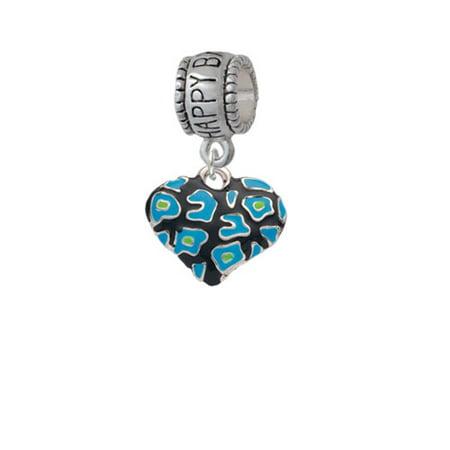 Hot Blue Cheetah Print Heart - Happy Birthday Charm Bead
