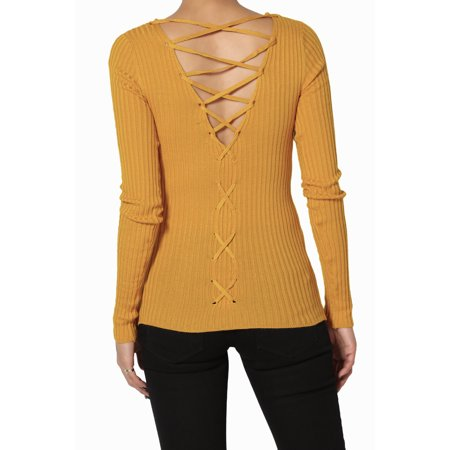 TheMogan Junior's Strappy Lace Up Back V-Neck Ribbed Knit Long Sleeve