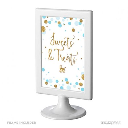 728ed1aed5239 Sweets & Treats Baby Blue Gold Glitter Baby Shower Framed Party Signs