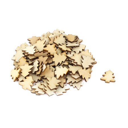 Holiday Wooden Tree Shaped Wedding DIY Craft Slices Beige 20mm x 20mm 100 Pcs](Wood Tree Slices)