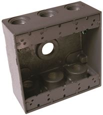 "HUBBELL WEATHERPROOF BOX DOUBLE GANG SEVEN 3/4"" OUTLETS GRAY"