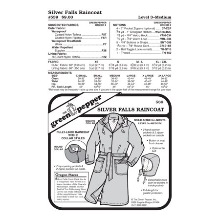 Silver Falls Raincoat Sewing Pattern