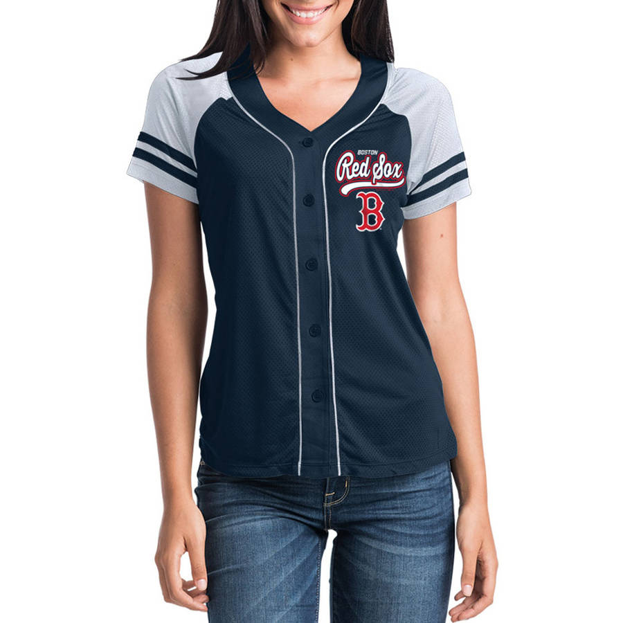 MLB Boston Red Sox Women's Short Sleeve Button Down Mesh Jersey