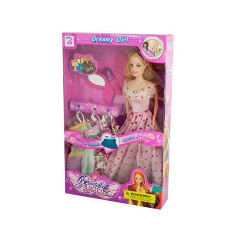 Bulk Buys OF377-16 Dreamy Fashion Doll with Dresses Accessories, 16 Piece