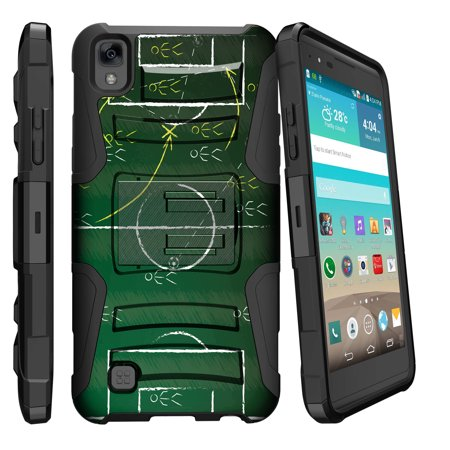 LG K6P, LG X Power, LG F740L Miniturtle® Clip Armor Dual Layer Case Rugged Exterior with Built in Kickstand + Holster - Soccer Play