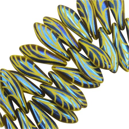 Etched Round Beads (Czech Glass, Dagger Beads with Laser Etched Wing Design 16x5mm, 25 Pieces, Yellow)