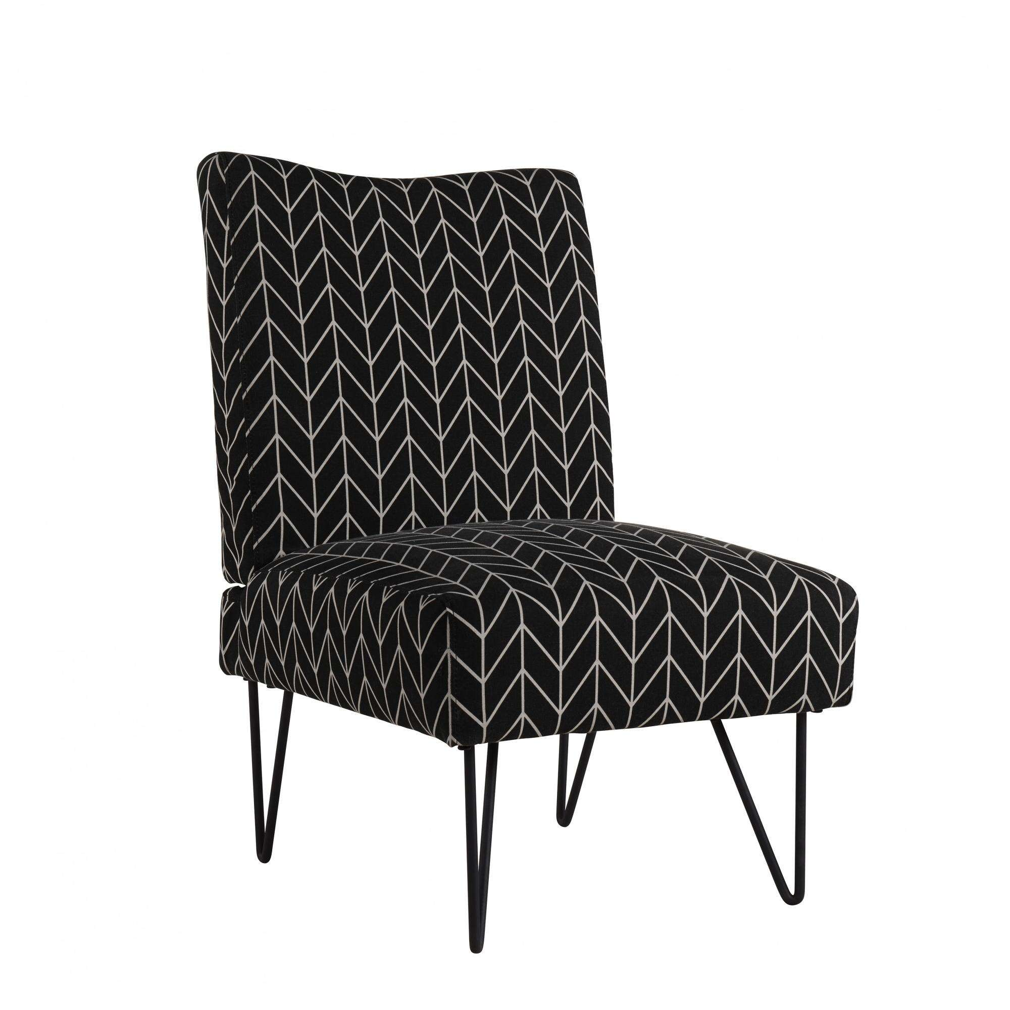 Product Image Mainstays Upholstered Hairpin Slipper Chair, Black Chevron