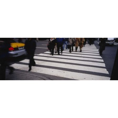 Group of people crossing at a zebra crossing New York City New York State USA Canvas Art - Panoramic Images (18 x 7) New York Zebra