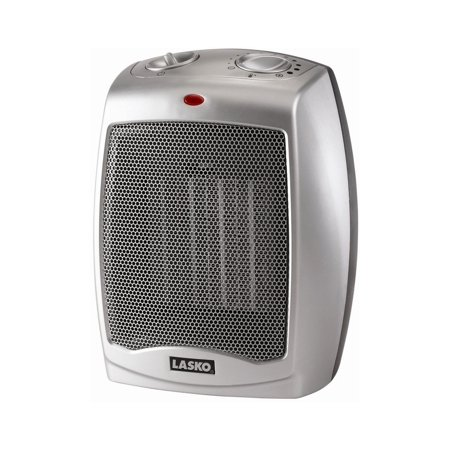 Lasko Electric Ceramic Heater, 1500W, Silver, (Holmes Eco Smart Energy Saving Portable Heater)