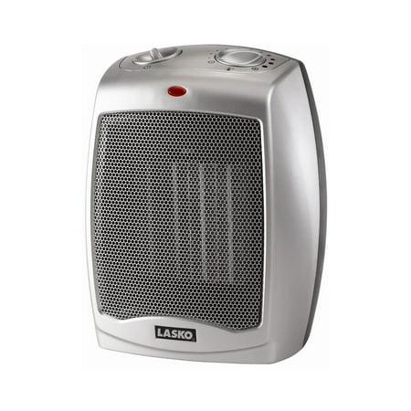 Lasko Electric Ceramic Heater, 1500W, Silver, 754200 Electric Tabletop Heater