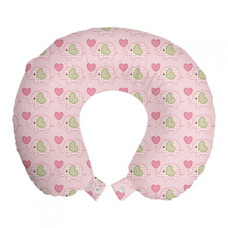 """Elephant Travel Pillow Neck Rest, Baby with Checkered Patterns and Polka Dotted Hearts, Memory Foam Traveling Accessory Airplane and Car, 12"""", Pistachio Green Pink, by Ambesonne"""