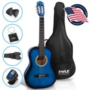 Pyle PGACLS82BLU - 36-Inch 6-String Classic Guitar - 3/4 Size Scale Guitar with Digital Tuner & Accessory Kit, (Blue Burst)