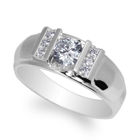 Mens 925 Sterling Silver 0.65ct Round CZ Large Stylish Wedding Ring Size (Stylish Cubic Zirconia Ring)