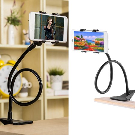 Universal Phone Holder Bracket with Charger Cable and Long Arm Clip on Desk Bed Kitchen Overall Length 37.4in Phone and Ipad Lazy Stand - image 8 of 9