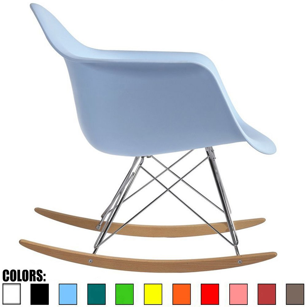2xhome - Blue - Eames Style Molded Modern Plastic Armchair – Contemporary Accent