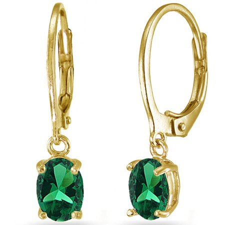 Created Emerald Yellow Gold Flashed Sterling Silver 7mm X 5mm Oval Dangle Leverback Earrings