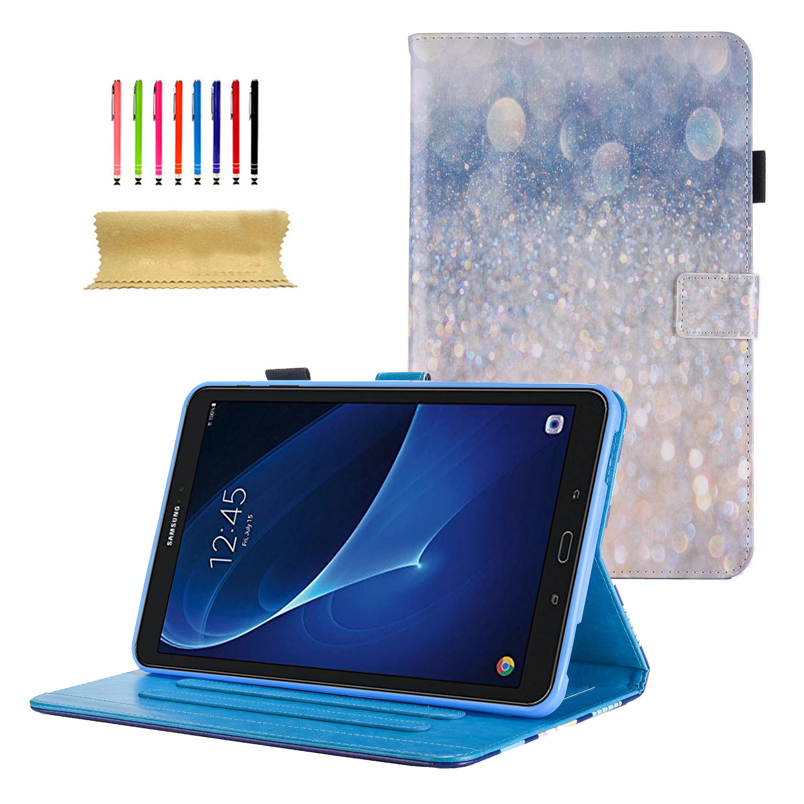 Galaxy Tab A 10.1 Case, Goodest PU Leather Folio Case Cover for Samsung 10.1 Inch Tablet SM-T580 T585 (NO S Pen Version) with Auto Wake/Sleep & Card Slots, Multiple Viewing Angles,Sparkling Sand