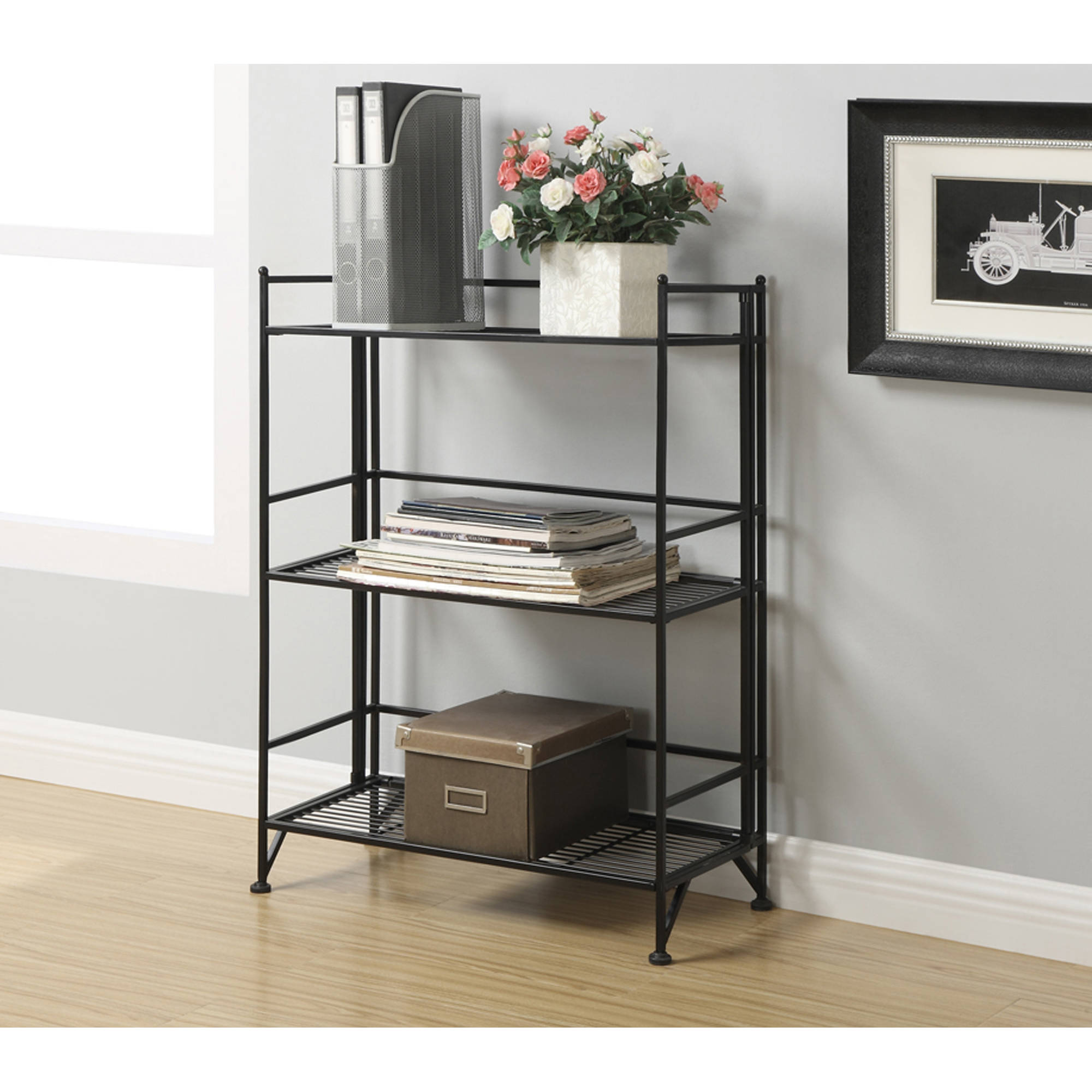 Convenience Concepts Designs2Go Metal Folding 3 Shelf Wide Bookcase, Multiple Finishes