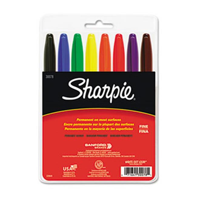 Sanford Ink Company 30078 Permanent Markers, Fine Point, Assorted, 8/Set