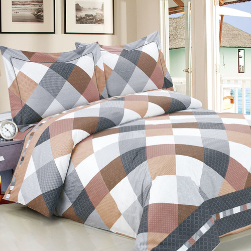 Violet Linen French Beige Grey Checks Luxurious 6 Piece Duvet Cover Set