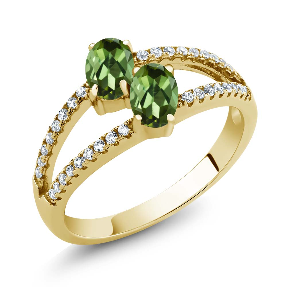 1.41 Ct Oval Green Tourmaline Two Stone 18K Yellow Gold Plated Silver Ring by