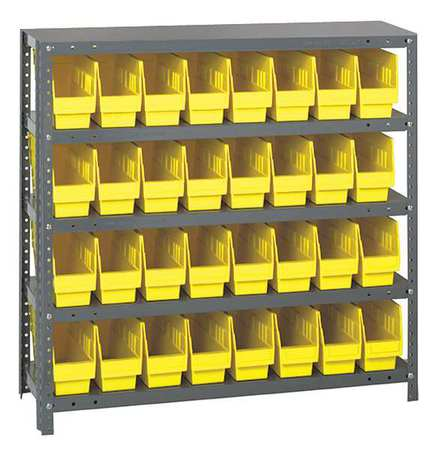 Bin Shelving,Solid,36X18,32 Bins,Yellow QUANTUM STORAGE SYSTEMS 1839-203YL