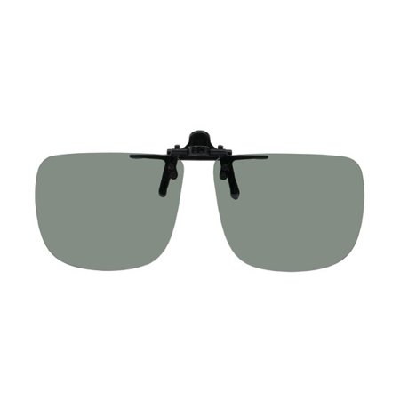 Polarized Clip-on Flip-up Plastic Sunglasses - Rectangle - 58mm Wide X 47mm High (128mm Wide) - Polarized Grey Lenses